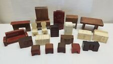 Vintage Antique Wood Wooden Strombecker Doll House Furniture Lot Miniatures 40s
