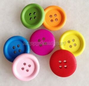 100 PCS Mixed Color Big Round 4 Holes Wood Sewing Button Scrapbook ynk212