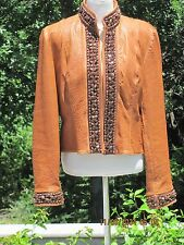 Double D Ranch honey brown leather jacket,  brown beading Large--runs a bit big