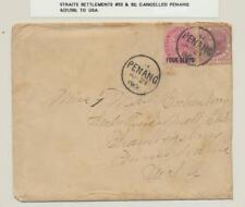 STRAITS SETTLEMENTS 1900 COVER- PENANG CDS TO USA 4c+12c RATED (SEE BELOW)