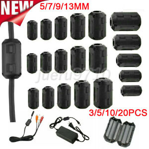 Ferrite Cable Clips Bead 5/7/9/13MM Choke Clamp Ring Core Coil RFI Cable Clip