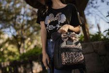 Disney Belle Bronze Minnie Mouse Sequined Mini Backpack Loungefly Black