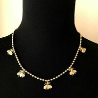 Joan Rivers Gold Tone Honey Bee Short Necklace Ball Chain Fashion Jewelry bumble