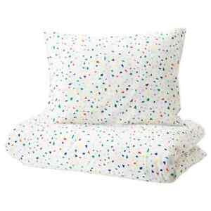 IKEA Duvet cover and Pillowcase White Mosaic Patterned Twin Size MÖJLIGHET