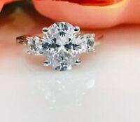 3.50 Ct 3-Stone Oval Cut Diamond Engagement Anniversary Ring 14k White Gold GP