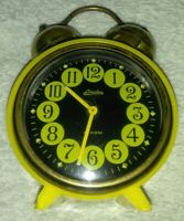 Vintage Linden Round Yellow, Black Face Wind Up Alarm Clock Germany