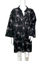 Black White Floral Embroidered Linen Blend Button Up Tunic Blouse 3X