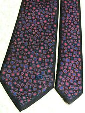"MILA SCHON Silk Twill ""Small Boxes"", Navy & Deep Pink Tie, Hand-Made, Authentic"