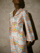 CHIC VINTAGE ROBE LONGUE 1970 VTG MAXI DRESS 70s KLEID 70er ABITO (36/38)