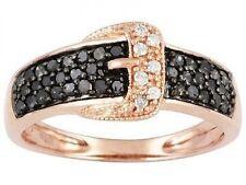 10K Rose Gold Black & White Diamond Belt Buckle Ring .50ct Size 7 Black Diamonds