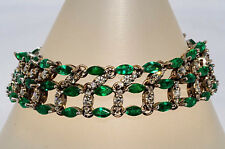 16.16Ct Natural Emerald And Diamond Cluster Bracelet 18K WG