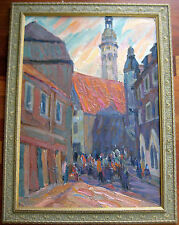 RUSSIAN OIL PAINTING GACHEGOV IMPRESSIONISM LANDSCAPE RIGA DOME CATHEDRAL 1963