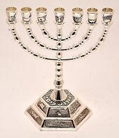 Large Authentic Menorah Silver Plated Candle Holder from Jerusalem #2
