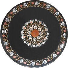 """36"""" Black Marble center Table top Multi precious stone Floral Inlay Art Garden"""