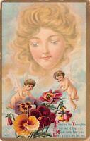 Postcard Woman Looking Down on Cherub Angels with Pansies Flowers~126923