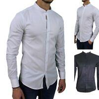 camicia uomo collo coreana slim fit bianca nera cotone elaticizzata manica lunga