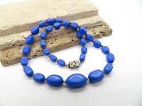 Vintage Violet Blue Graduated Art Glass Bead Silver Filigree Clasp Necklace K6
