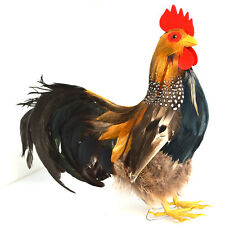 Lifelike Rooster Realistic Feather Farm Animal Figurine Home Store Decoration