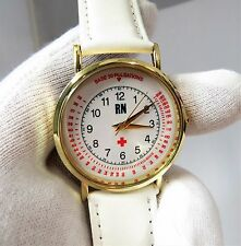 "NURSE,RN,""Base Pulse Dial,Gold Plate & White Leather"" UNISEX NURSE WATCH,628"