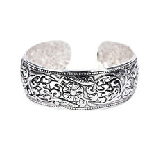 Tibetan Silver Totem Bangle Carved Lucky Flower Bangle Cuff Bracelet EB