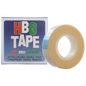 HBG Wig Tape 12mm x 5m roll Hypoallergenic  Transparent 2-Sided Toupee Adhesive