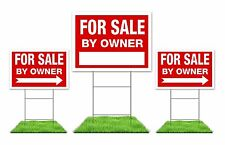 For Sale By Owner Sign Kit - (3) Doube Side Red Signs with Steel H Stakes