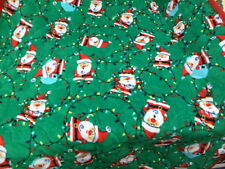 "New Christmas Lights N Snowflakes Santas Micro Fleece Quilted Throw 50"" X 60"""