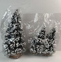 "Bottle Brush Flocked Trees Red Berries 3 Christmas 9"" & 6"" Village Accessories"
