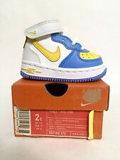Brand New Nike Force 1 Mid (TD) Toddler Baby Legend Blue White 2c
