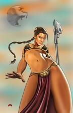 Slave Leia Organa Carrie Fisher Star Wars hero 11x17 signed print Dan DeMille