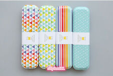Cute Pretty Funky Pastel Rainbow Quality Stationary Metal Tin Box Pencil Case UK