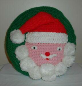 "Handmade Knit / Crochet SANTA Face Round CHRISTMAS Pillow - 12"" diameter"
