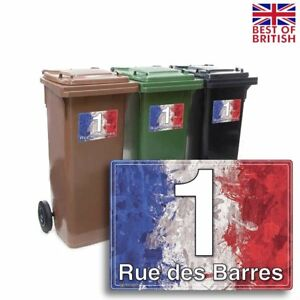 A5 [4 X Pack] - French Flag Paint Style, Personalised Wheelie Bin Sticker / V...