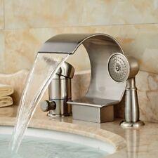 Brushed Nickel Roman Waterfall Bathroom Tub Faucet 3 PCS Diverter Hand Shower