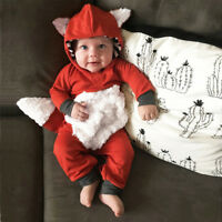 UK Newborn Babys Sleepsuit Cartoon Fox Romper Playsuits Boys Girls Babygrows AB