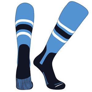 PEARSOX Elite Baseball Knee High Stirrup Socks (E, 7in) Sky Blue, White, Navy,