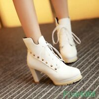 Fashion Women Lace Up Ankle Boots High Block Heels Plus SZ Platform Shoes Casual