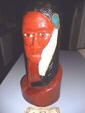 """Vintage 16"""" Wood Carved Cigar Store Indian Head Bust  Hand Painted  Log Carving"""