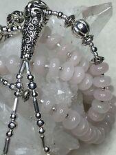 Artisan Silver & Rose Quartz Tibetan Buddhist Mala 108 Prayer Bead Necklace