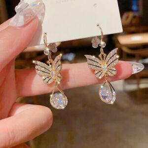 925 Silver Gold Crystal Butterfly Earrings Hook Drop Dangle Women Jewelry Gifts