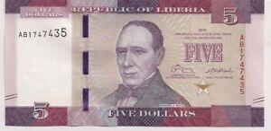 Liberia   #31      5 Dollars  2016 in Unc
