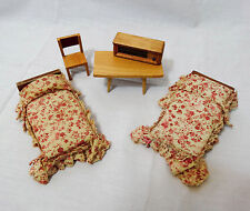 Vintage Miniature Dollhouse Furniture wood & cloth Beds Table Chair Radio