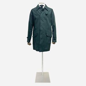Rubinacci Raincoat Mac, Green Cotton. Size 46 UK, 56 IT