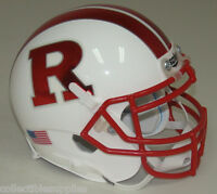 RUTGERS SCARLET KNIGHTS ALT WHITE with RED CHROME SCHUTT MINI FOOTBALL HELMET