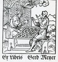 Chess Players,  Ex libris Bookplate by Hans Pape