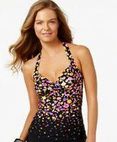 Anne Cole Floral Print Halter Tankini Swimsuit Top Multi Color Size Small