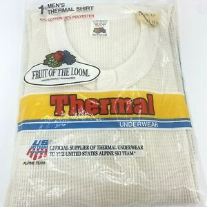 1982 Fruit of the Loom Mens Thermal Crew Top Shirt Natural Size Large NOS