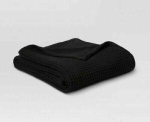 Threshold Dobby Weave Waffle Knit 100% Cotton Throw Blanket Twin Ebony 70x92