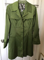 Kensie Ladies Green  Long Sleeve Trench Coat Lined Size Medium