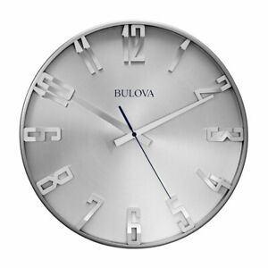 Bulvoa Clocks C4846 Director 16 Inch Slim Metal Analog Wall Clock, Satin Pewter